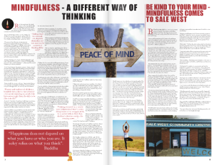 Mindfulness double page feature in Sale West Voice Magazine