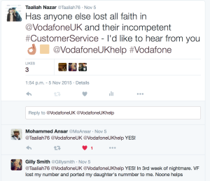 Twitter is full of complaints about Vodafone customer service, or lack of it.